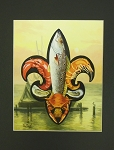 The Seafood Fleur de Lis Print by Alla Baltas 12x12