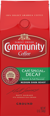 Community Coffee: Ground Cafe' Special Decaffeinated 12oz