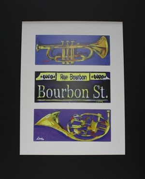 Bourbon Street Sign and Trumpet Print by Chris Long 13.25x16""
