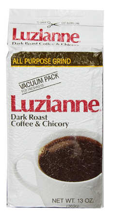 Luzianne Dark Roast Coffee & Chicory Bag, White Label, 13 oz.