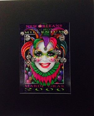 New Orleans Ring in the New Millenium Mardi Gras 2000 print by Andrea Mistretta 8.75x10.5""